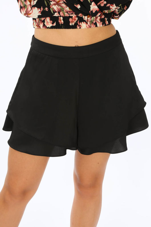 Layered Frill Shorts In Black