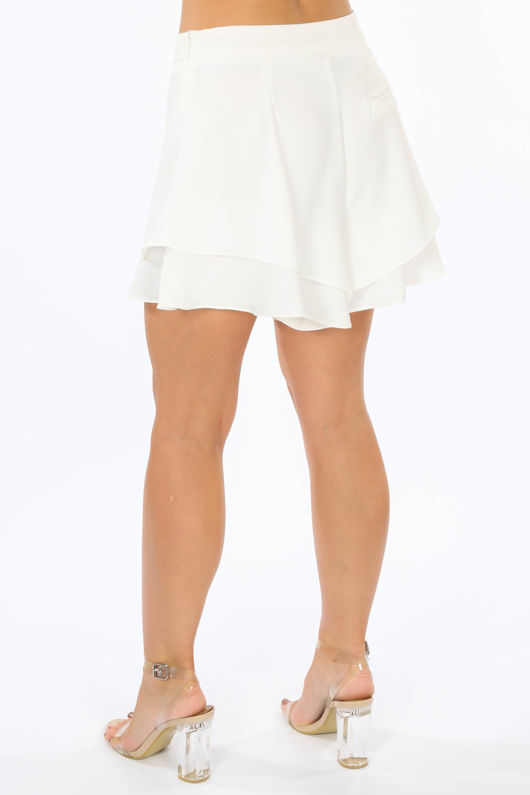 Layered Frill Shorts In White