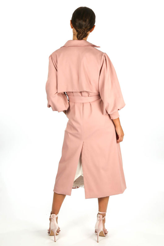 Pink Puff Sleeve Trench coat