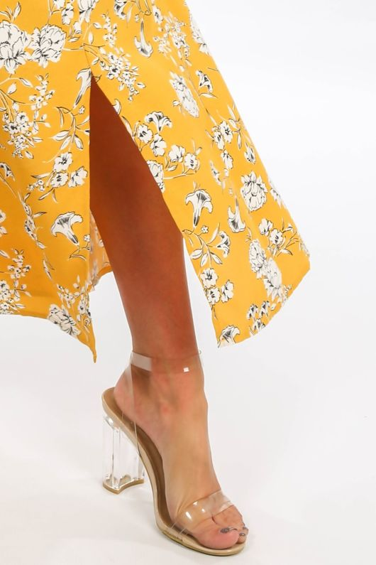 Mustard Floral Printed Button Front Maxi Skirt