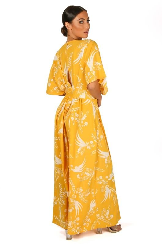 Yellow Kimono Sleeve Printed Maxi Dress