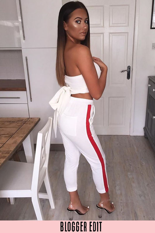 White Cropped Side Stripe Joggers