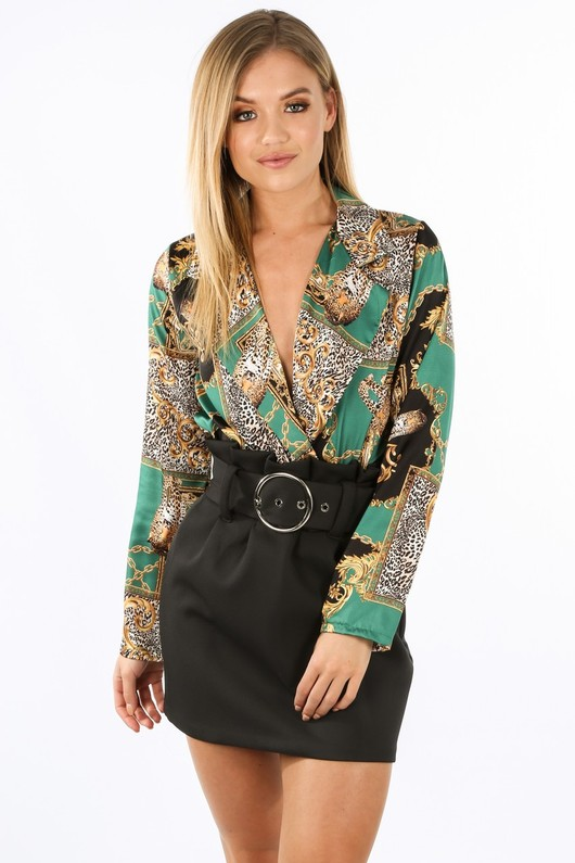 ee0988dbdcd0 Chain Print Satin Plunge Bodysuit In Green