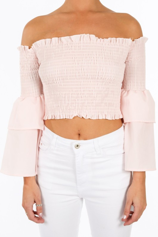 n/909/8098-_Pink_Shirred_Bardot_Crop_Top_With_Bell_Sleeves-5__78660.jpg