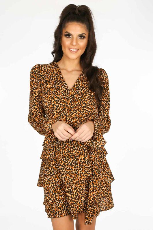 a5bad0b7704d9 Brown Leopard Print Frill Wrap Look Dress