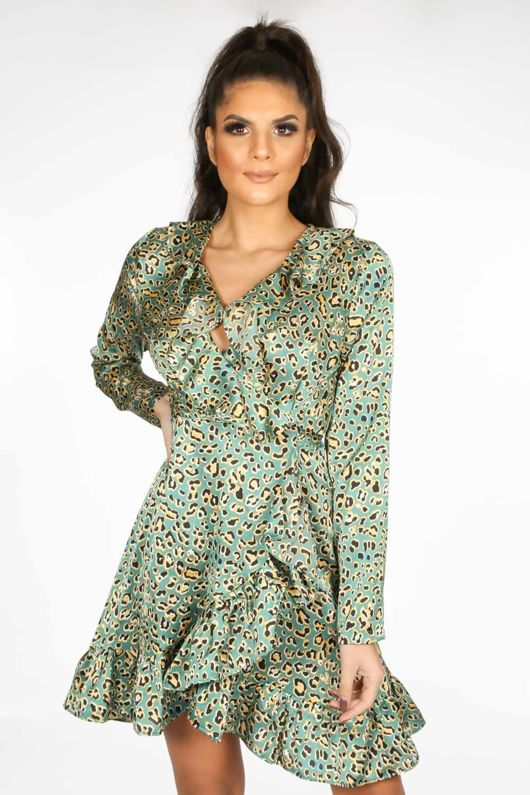 Green Long Sleeve Leopard Print Wrap Dress