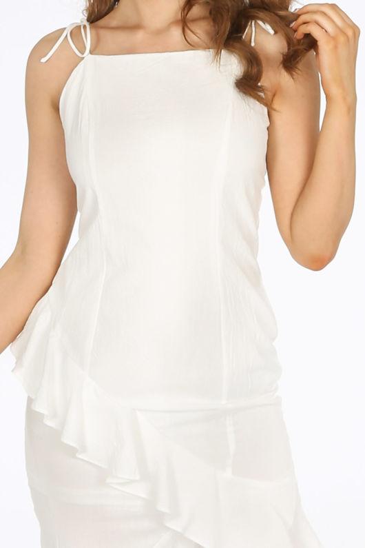 White Midi Frill Hem Day Dress