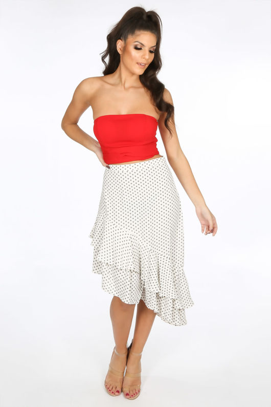 dcf1e747aa1052 Wrap Around Bandeau Crop Top In Red