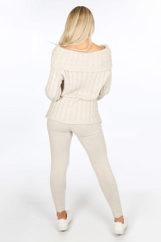 Beige Bardot Knitted Jumper & Leggings Set