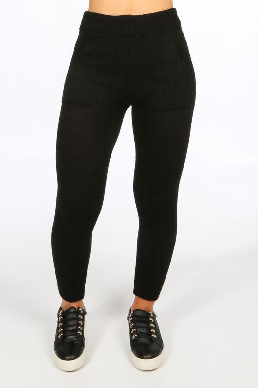 Black Bardot Knitted Jumper & Leggings Set
