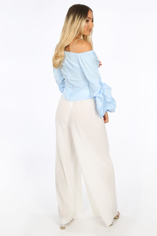 Bardot Puff Sleeve Blouse In Light Blue