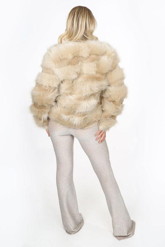 Super Soft Faux Fur Jacket In Beige