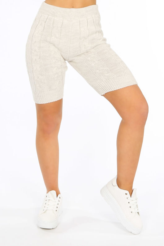 Beige Knitted Jumper And Shorts
