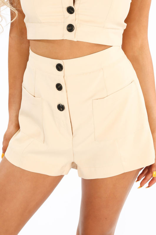Beige Tailored Button Front Shorts