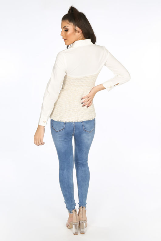 Beige Tweed Peplum Shirt