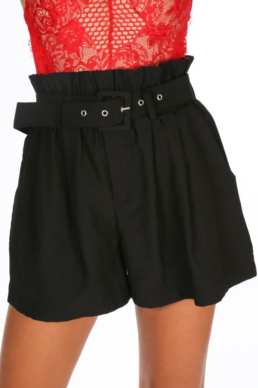 Belted Paper Bag Shorts In Black