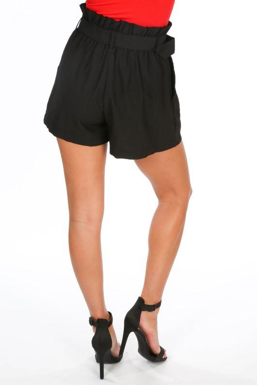 Belted Paper Bag Shorts In Black