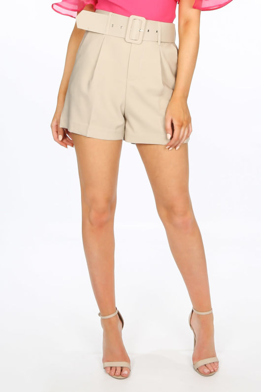 Tailored Belted Shorts In Beige