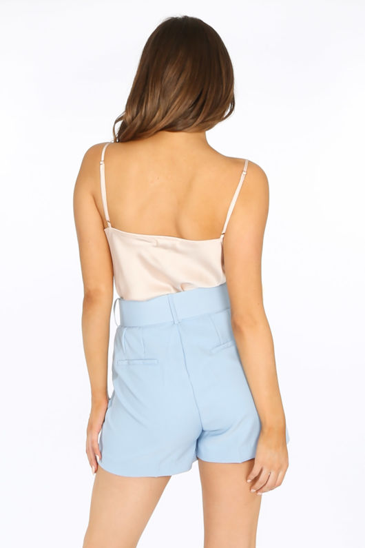 Tailored Belted Shorts In Light Blue