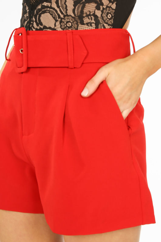 Belted Tailored Shorts In Red