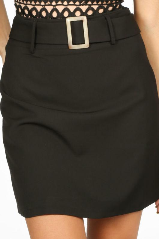 Black Belted Tailored Mini Skirt