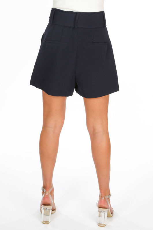 Belted Tailored Shorts In Navy