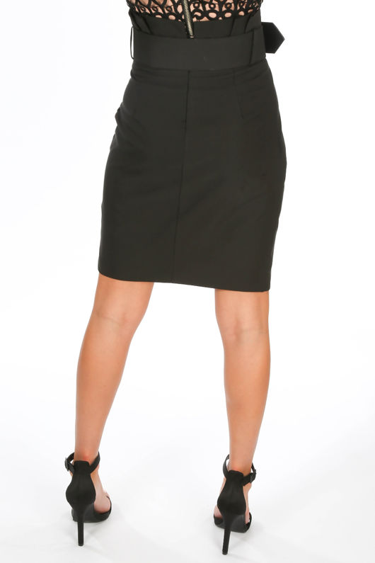 Belted Tailored Wrap Midi Skirt