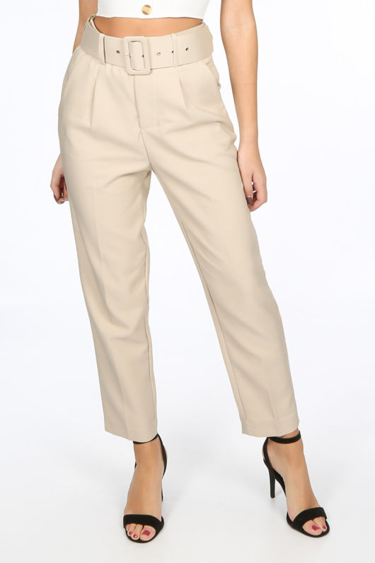 Beige Belted Tailored Trouser