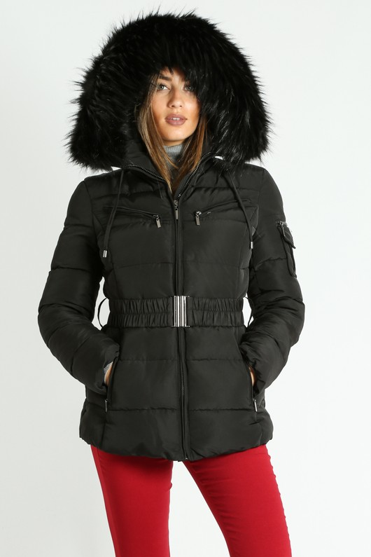 33d9ec4b8 Black Belted Quilted Puffer Jacket With Faux Fur
