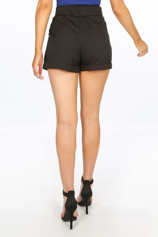 Tailored Belted Shorts In Black