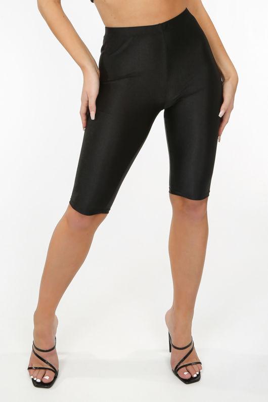 Black Slinky High Waisted Cycle Shorts