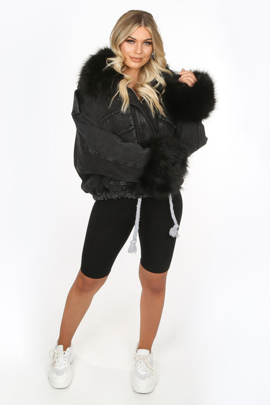 Black Faux Fur Oversized Denim Jacket