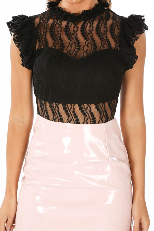 Black High Neck Lace Bodysuit