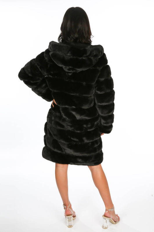 Black Long Faux Fur Coat With Hood