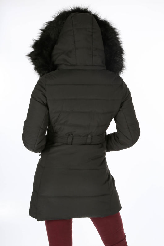 Black Long Puffer Coat With Matching Faux Fur-Copy
