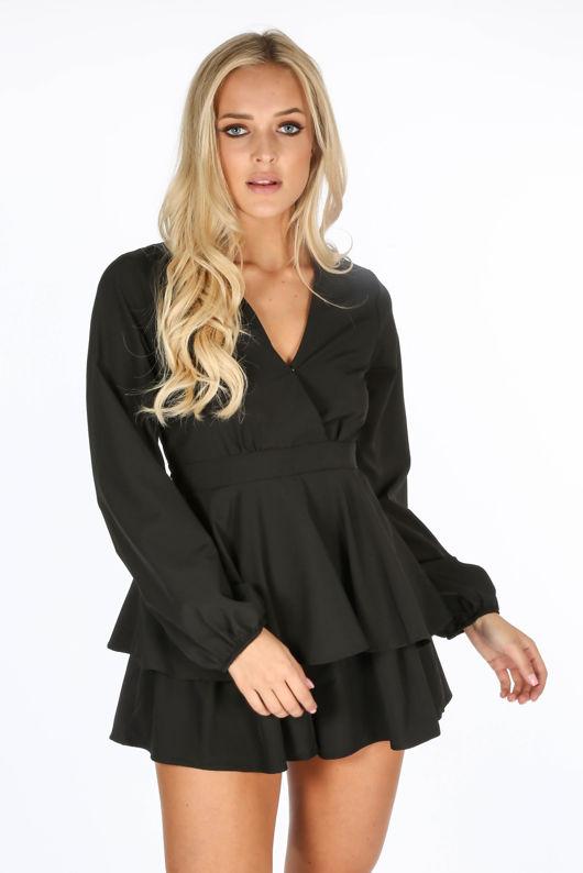 Black Long Sleeve Frill Playsuit