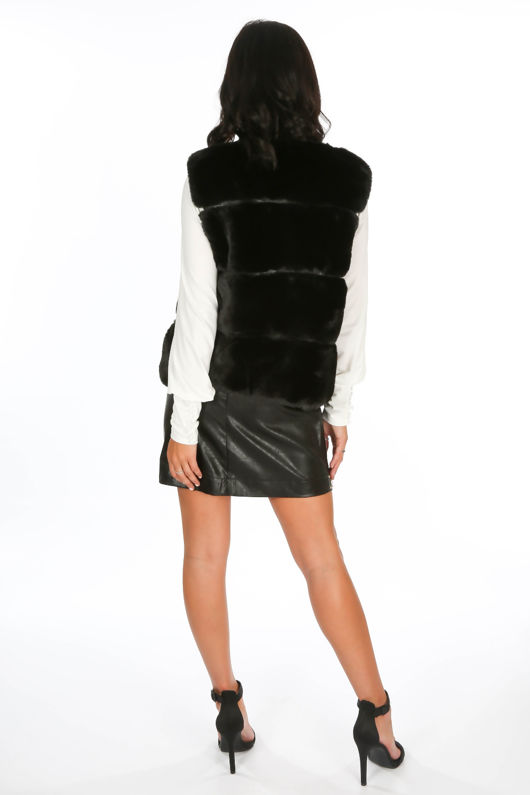 Black Luxury Faux Fur Gilet