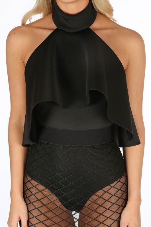 Black Neoprene Frill Halter Neck Bodysuit