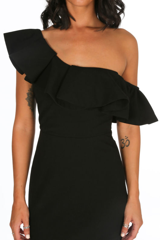 Black One Shoulder Frill Maxi Dress a882795d9