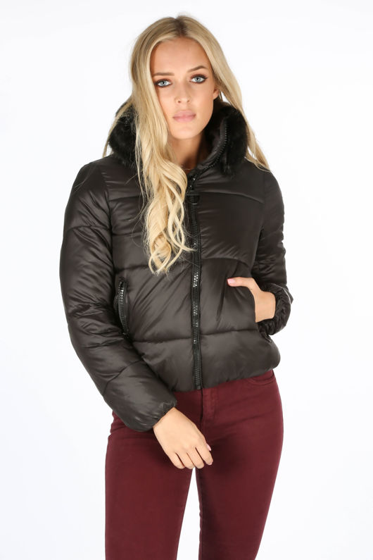 2cab7476a4489 Black Puffer Bomber Jacket With Faux Fur Collar