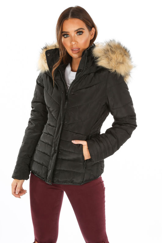 Black Quilted Puffer Jacket With Faux Fur Trim