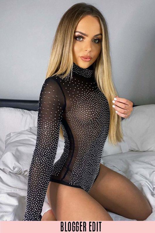 Black Sheer Diamante Bodysuit