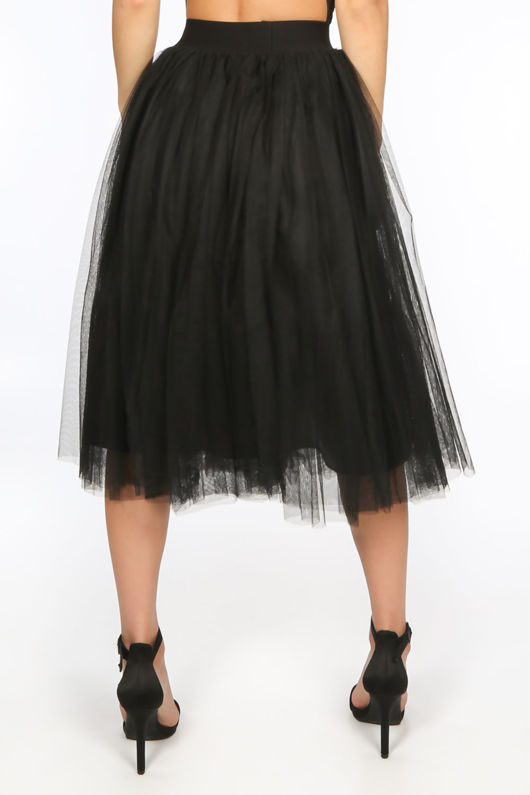 Black Midi Tulle Skirt