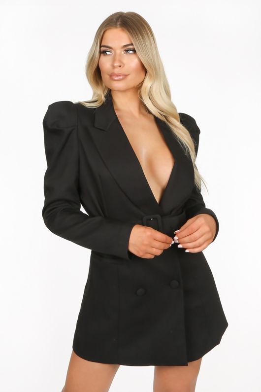 Black Tailored Belted Blazer Dress