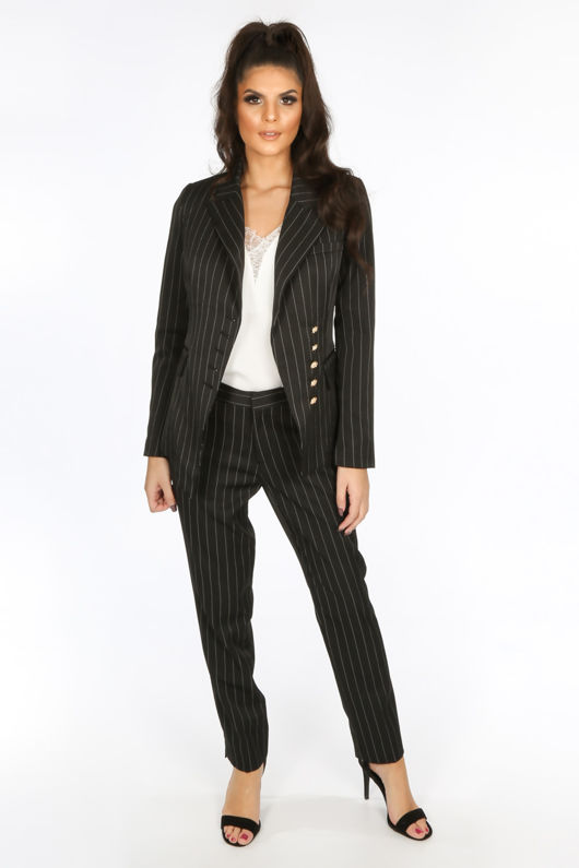 Black Pinstripe Tailored Trouser