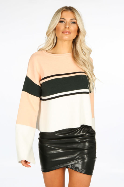 Striped Round Neck Jumper In Peach