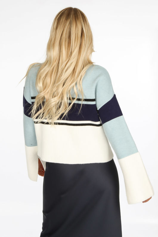 Striped Round Neck Jumper In Blue