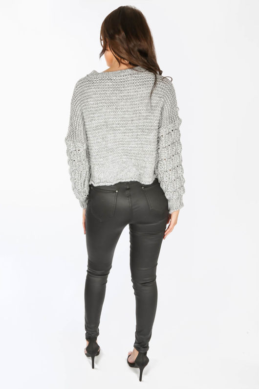 Bobble Sleeve Cropped Jumper In Grey
