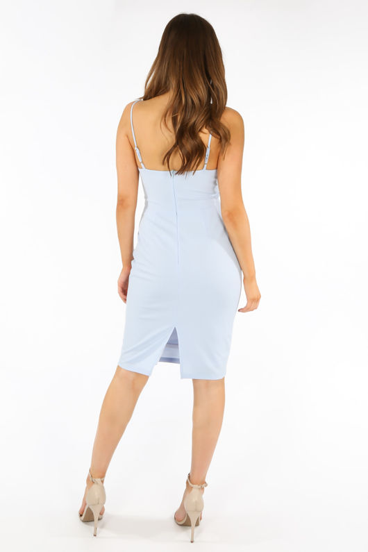 Plunge Bra Cup Bodycon Dress In Light Blue