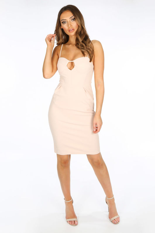 Plunge Bra Cup Bodycon Dress In Nude